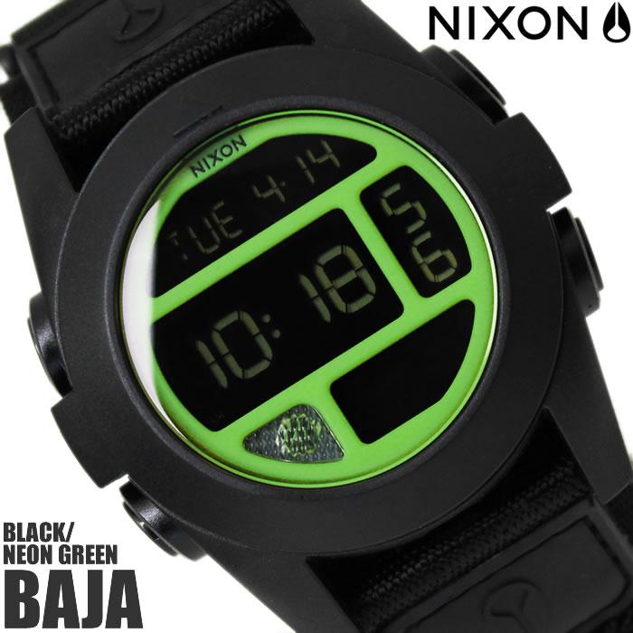 【送料無料】ニクソン THE BAJA A489027 NIXON 腕時計 メンズ バハ ブランド ナイロンベルト ブラック 黒 時計 ネオングリーン デジタル 金属アレルギー対応 プレゼント ギフト 人気 特価 激安 WATCH うでどけい【腕時計】【ニクソン/NIXON】