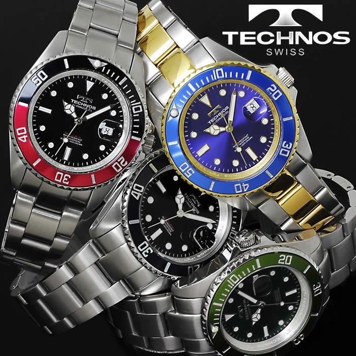 腕時計 メンズ 時計 テクノス 防水 TECHNOS ダイバーズウォッチ TSM402 ブランド 激安 ビジネス ダイバーズ風 夜光 蓄光 オフィス シンプル かっこいい 人気 プレゼント ギフト とけい うでどけい tokei watch【テクノス/TECHNOS】