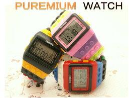 メンズ時計 レディズ時計 腕時計 LED時計 デジタルウォッチ レゴ時計 ファション時計 カラフルボーイズ、ガールズ ブロックベルト時計!No3 送料無料!