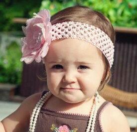【ベビーヘアバンド】【即日配送】【メール便可】MANDYレース生地フラワークリップ&ヘアバンドセットピンク【お誕生日】1歳:女