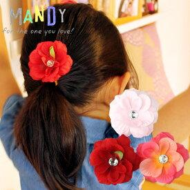 メール便送料無料ベビーヘアクリップ「MANDY」マンディノンスリップ/フラワワーヘアクリップ 3色フラワーセット