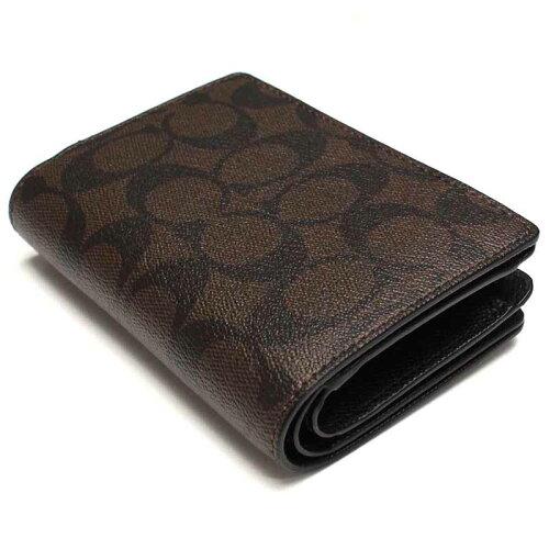 コーチCOACH二つ折財布F54023ブラウン系ブラック