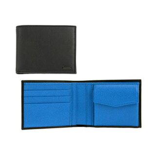 日本未発売モデル ドルチェ&ガッバーナ DOLCE&GABBANA 二ツ折リ財布 NERO/BLU 8C901 BP0457-A6839