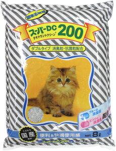 【猫自動トイレにぴったり】 猫砂 ネコ砂 ねこすな 固まる猫砂 スーパーキャット スーパー DC200 ベントナイト 鉱物 固まる 消臭 抗菌 8L