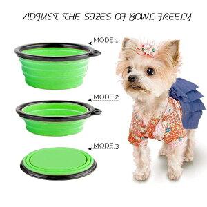 ペット用 犬 散歩 携帯 ボウル ペットボウル ウォーターボウル 折りたたみ シリコン 容器 えさ皿 えさいれ 給水 水入れ 水飲み 給餌 カラビナ付き Lサイズ