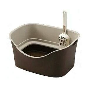 ボンビアルコン ラクラク 猫トイレ Wブロック ブラウン 猫 トイレ 本体 飛び散らない 猫用 オープントイレ お手入れ簡単 猫砂 スコップ付き