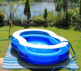 【ユーザー】プール 下マット ブルーストライプ柄 (180×180cm)※青のプール・ホースはついていません。