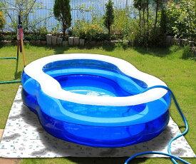 【ユーザー】ビニール プール 下マット 下敷きマット マリン柄 (約180×180cm)※青のプール・ホースはついていません。