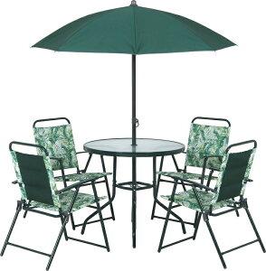 ガーデン テーブル セット ガーデンファニチャー セット 6点 (ガーデンテーブル+ガーデンチェアー4脚+ガーデンパラソル)トリノ(グリーン)