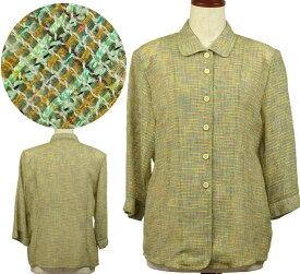 柄物ジャケットブラウス13号 シニアファッション 夏 ゆったりサイズ 中国製 高齢者 シニア向け婦人服