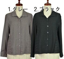 L/LL無地ブラウス シニアファッション 夏 大きいサイズ 中国製 シニア向け婦人服