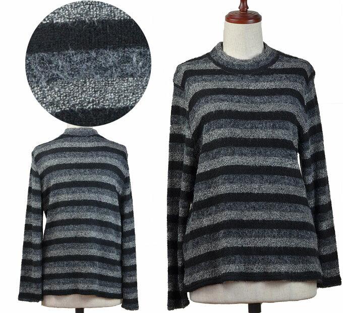 モノクロボーダーブラウス シニアファッション 冬 ミセス 韓国製