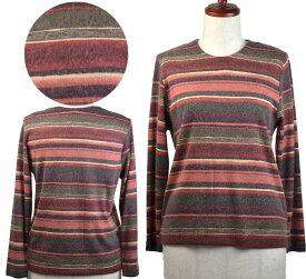 ボーダー柄Tシャツブラウス フリー シニアファッション 秋 冬 ミセス シニア向け婦人服