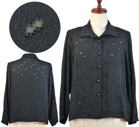 黒地ブラウス13号 シニアファッション 春 間物 日本製 高齢者 シニア向け婦人服