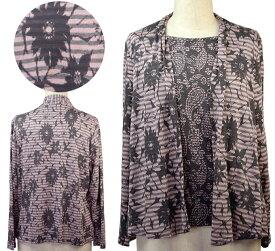 ダブルカバーアンサンブル風ブラウス シニアファッション 春 夏 フリーサイズ LL