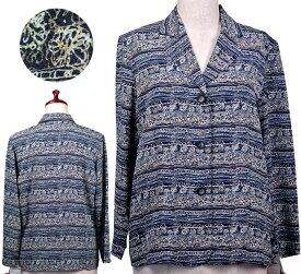 柄物ジャケット11号 高齢者 シニアファッション 春 初夏 おばあちゃん