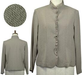 長袖フリル付きジャケット11号 シニアファッション 春 日本製 フォーマル 間物 高齢者 シニア向け婦人服