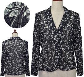 フリル付きショール衿ジャケットフリーサイズ シニアファッション 春 初夏 シニア向け婦人服