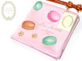 [27]ハンカチ スクレ・ラデュレ レディス ピンク 猫とマカロンのプリント 綿100% 日本製 50cm