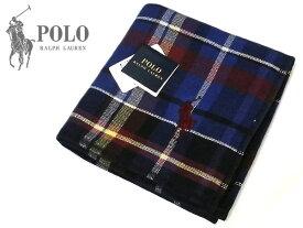 [53]POLO RALPH LAUREN ポロ・ラルフローレン タオルハンカチ チェック柄 ブルー ロゴ刺繍 綿100% 25cm メンズ レディス +