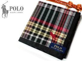[98]Ralph Lauren ポロ・ラルフローレン ハンカチ ブラック×レッド チェック柄 綿100% 日本製 48cm メンズ ♪
