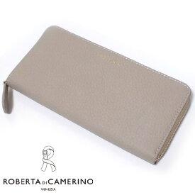 【少訳有】ロベルタ ディ 箱付きカメリーノ 牛革 レザー エクラ 三方ラウンドファスナー長財布 グレージュ レディス Roberta di Camerino