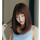 【フルウィッグ】優しさ醸すワンカール艶髪小顔セミディ(前髪シースルーバング)