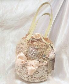 【送料無料】alfajill りぼん飾りのバスケットかごバッグ カゴバッグ アルファジル春夏手提げバッグ かごバッグ お洒落