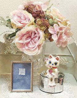 招き猫デコレーションキラキラ置物ラインストーンのデコレーションがかわいい♪お座り招き猫:ホワイト商売繁盛開店祝い合格祈願御祝内祝縁起物デコ