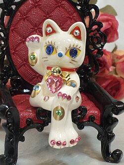 キラキラ・ゴージャス♪お座り招き猫:ホワイト