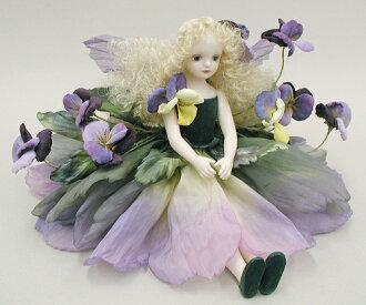 若月Mariko花的妖精玩偶♪erufinfurori:三色堇(紫)bisukudoru妖精花妖精陶器玩偶禮物祝賀紀念品陶器