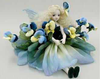 Wakatsuki 馬林兒童花仙子娃娃! elfinflory: 紫羅蘭 (藍色) 濃湯童話花仙子娃娃禮物慶祝紀念品陶器