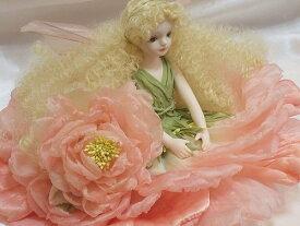 【送料無料】若月まり子 お花の妖精人形♪エルフィンフローリー:オールドローズ(ピンク)【楽ギフ_包装】【楽ギフ_のし】ビスクドール 御祝 贈答 創作人形 ギフト 結婚祝 出産祝 記念品
