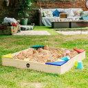 1年保証 砂場 砂遊び セット カバー シート 付き 木製砂場 90 x 90 x 12cm 砂場遊び 砂あそび すなば すな場 DIY 庭 …