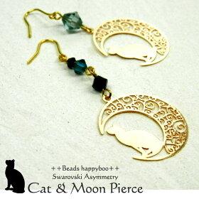 スワロフスキーと月猫のピアス・Swarovski