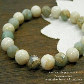 【天然石】天然石ブレスレット(インプレッション&リバストーン)【パワーストーン】