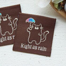 ハンドメイドタグog15刺繍タグ・四角タグ・傘をさした猫・Rightasrain