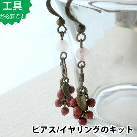 【ビーズアクセサリーのキット】天然石の木の実ピアス(真鍮古美)