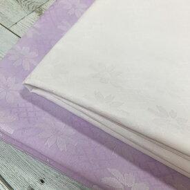 【50cm単位】【2mまでメール便対応】 コットン 花柄 かわいい 小花 白 紫 ジャガード  ワイド幅 広幅 パープル ホワイト 生地 布 綿100% 薄手 先染め シャツ地