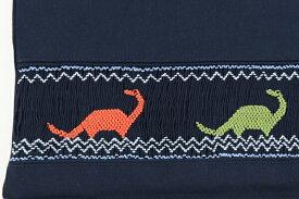 【レッスン】【手刺繍スモッキング】【恐竜】紺色布製:レッスンバッグ Mサイズ 日本製【あす楽】