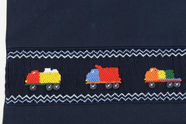 【手刺繍スモッキング】【トラック】紺色布製:レッスンバッグ Lサイズ 日本製【あす楽】