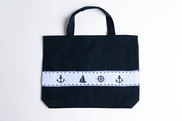 【手刺繍スモッキング】【マリン柄】紺色布製:レッスンバッグ 日本製【あす楽】