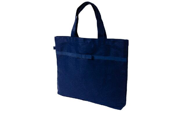 リボン付き 紺色布製レッスンバッグ【中】【お受験バッグのハッピークローバー】【あす楽対応商品】