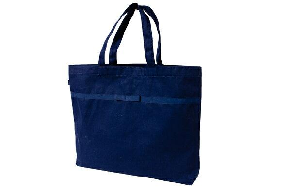 リボン付き 紺色布製レッスンバッグ【大・お道具箱サイズ】【お受験バッグのハッピークローバー】【あす楽対応商品】