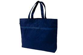 【レッスン】リボン付き 紺色布製レッスンバッグ【大・お道具箱サイズ】【お受験バッグのハッピークローバー】【あす楽対応商品】