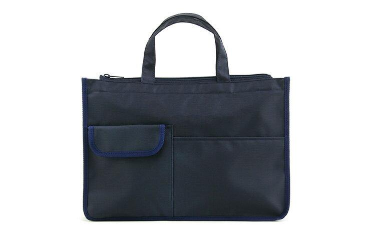 入口ファスナー付 紺色ナイロン製レッスンバッグ【お受験バッグのハッピークローバー】【あす楽対応商品】
