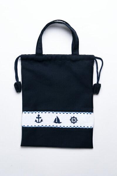紺色布製 巾着バッグ 手刺繍スモッキング【マリン柄】日本製
