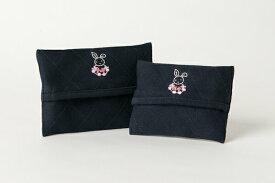 手刺繍【うさぎ】ティッシュケース 【2サイズ】【お受験用品の店●ハッピークローバー】【あす楽対応商品】