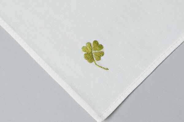 男女兼用 綿ハンカチ 手刺繍 四つ葉のクローバー【あす楽】