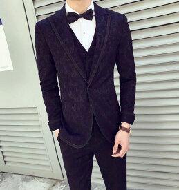 おしゃれメンズスーツ 高級感 スリーピース 長袖スーツ タキシード 一つボタン 細身 礼服 紳士服 オフィス ビジネス セレモニー 通勤 フォーマル カジュアル 結婚式 二次会 お呼ばれ パーティー サイズ有M-3XL ジャケット+ベスト+パンツ 3点セット 格好いい!品質良い!